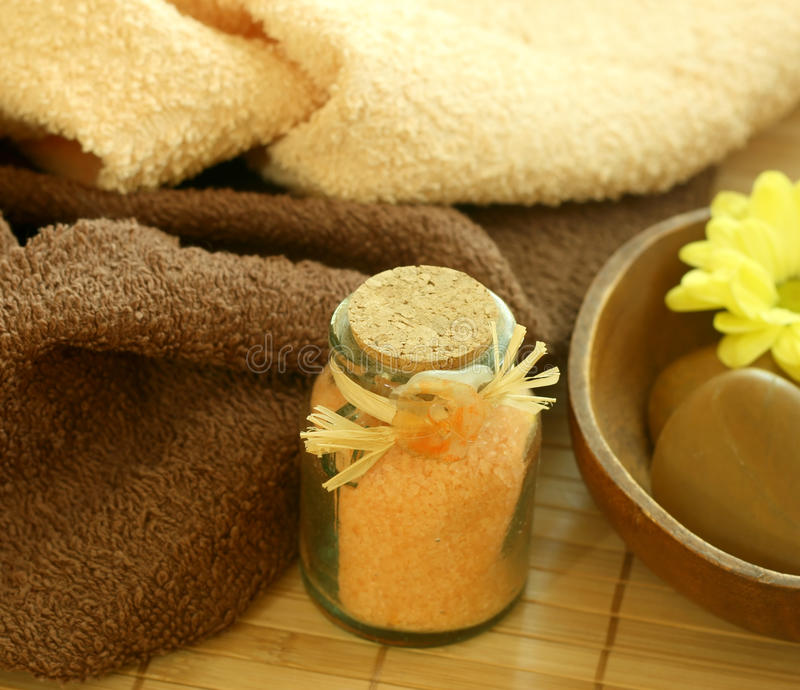 Download Spa Composition Of Towels And Bad Salts Stock Image - Image: 10088069
