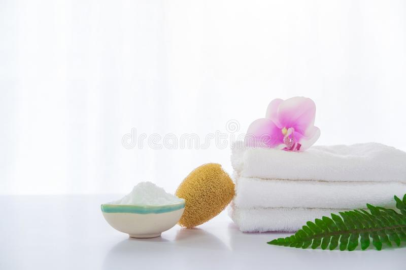 Spa composition on white table.  royalty free stock photography