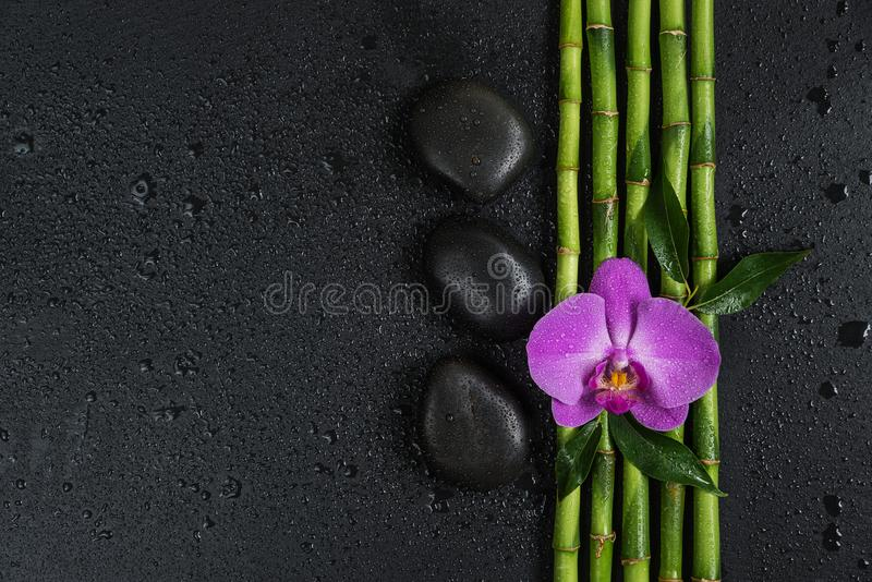 Spa concept with zen stones, orchid flower and bamboo royalty free stock photo