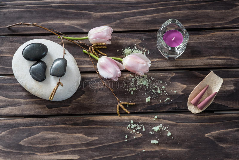 Spa concept. flowers,candles, aromatic salt stock images
