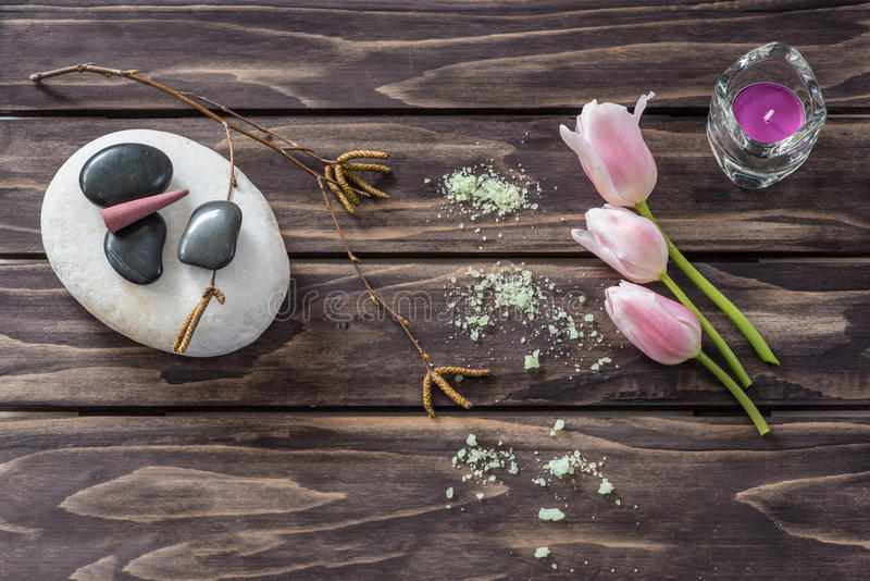 Spa concept. flowers,candles, aromatic salt stock photo