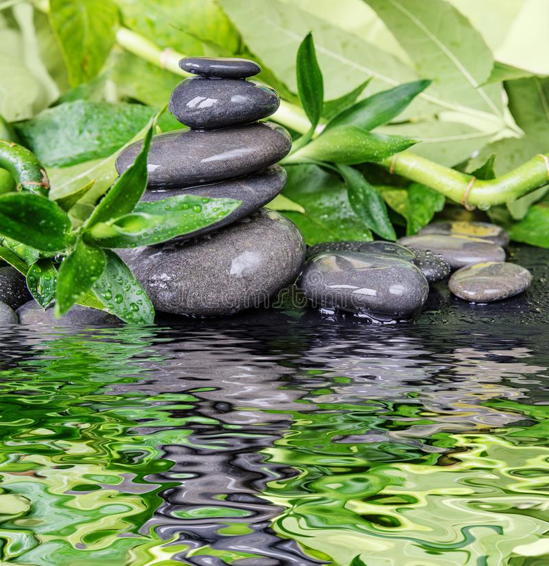 Spa-concept with zen stones and bamboo stock images