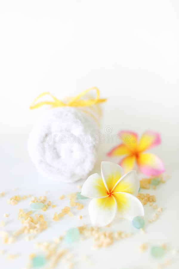 Spa concept. Image of spa concept with towel and flower royalty free stock photo
