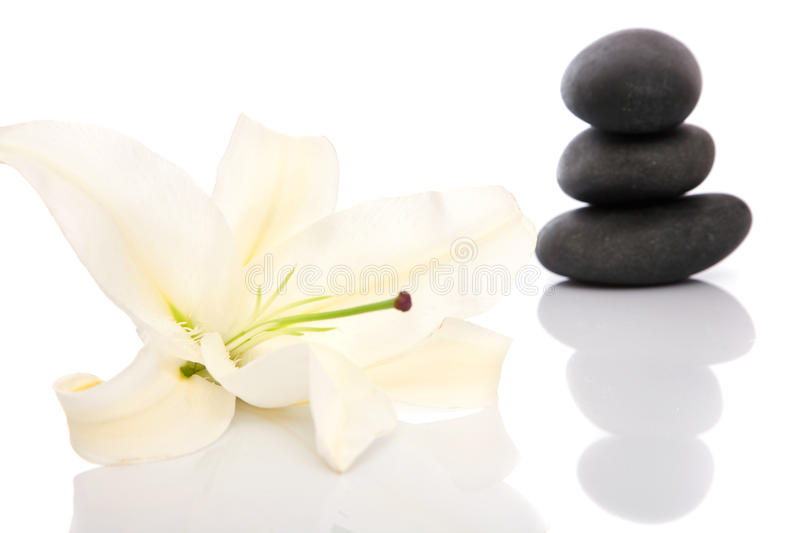 Spa concept with lastone. Volcanic stones, lily, towels for spa and lastone concept royalty free stock images