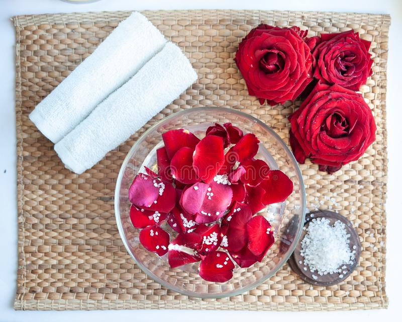 Spa concept for nails, manicure and pedicure. Flat Lay Roses lavander ,. Spa concept for nails, manicure and pedicure. Flat Lay Roses, salt and brush royalty free stock images
