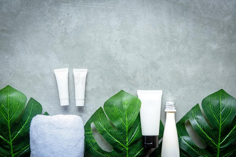 Spa cosmetic products organic green concept, spa beautiful massage on concrete background top view and copy space for text, stock photos