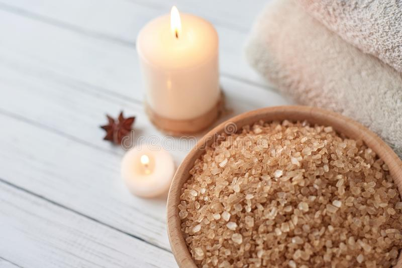 Spa and cosmetic treatment composition. With copy space royalty free stock photos