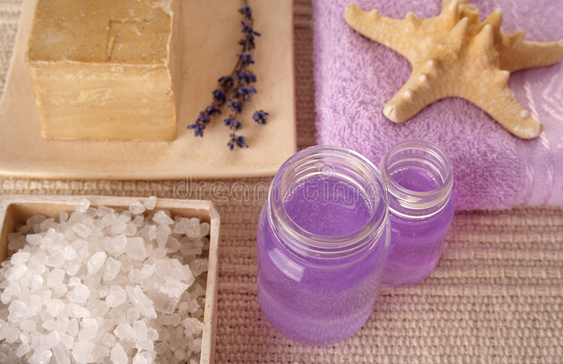 SPA cosmetics series. Cosmetics products: lavender oil royalty free stock photo
