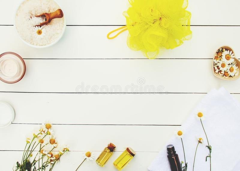 Spa and cream with chamomile extract. royalty free stock photo