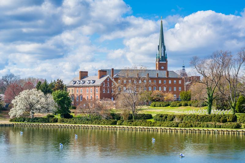 Spa Creek and St. Mary`s Church, in Annapolis, Maryland.  royalty free stock photos