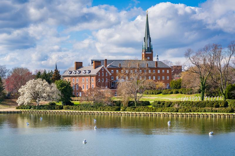 Spa Creek and St. Mary`s Church, in Annapolis, Maryland.  royalty free stock photography