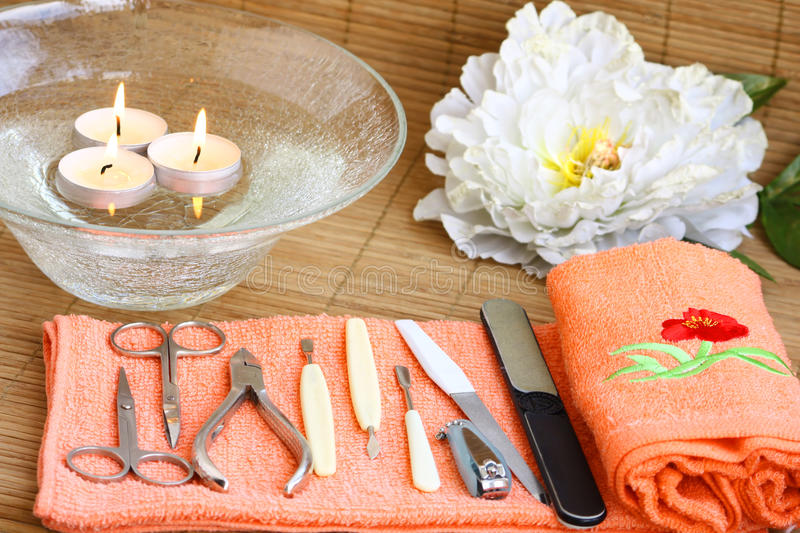 Spa Decorated Manicure Set Stock Photography