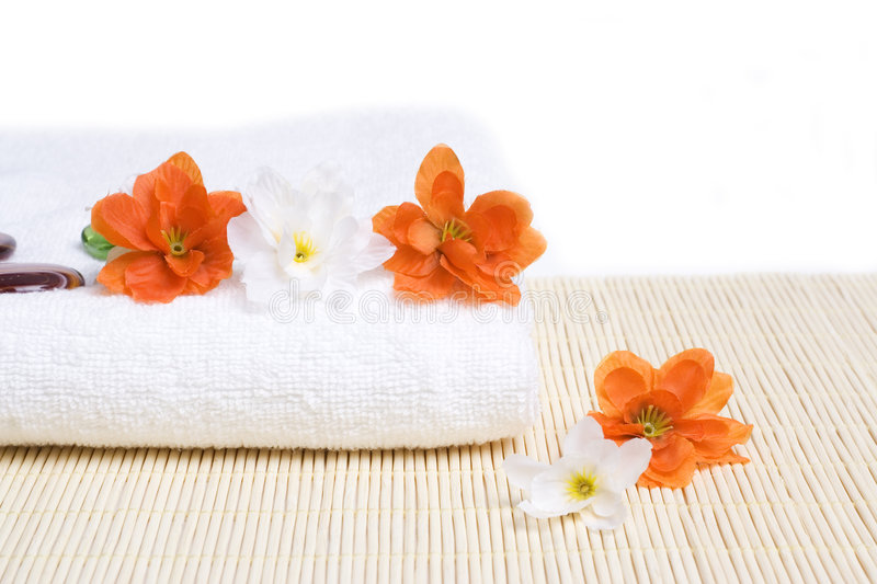 Download Spa Detail. Towel And Flowers Stock Image - Image of detail, clean: 7329717