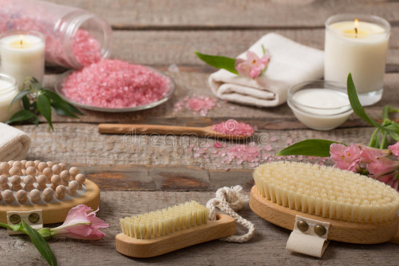 Spa details on wooden background stock photography