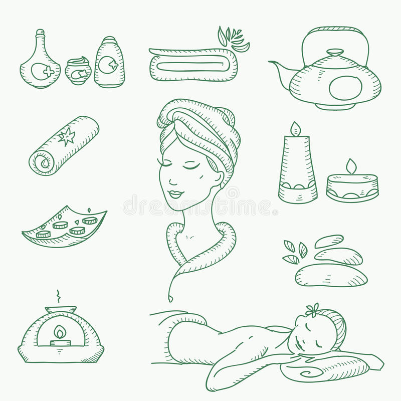 Free Spa Doodle Hand Drawn Sketch Icons Set With Stock Photos - 51108133