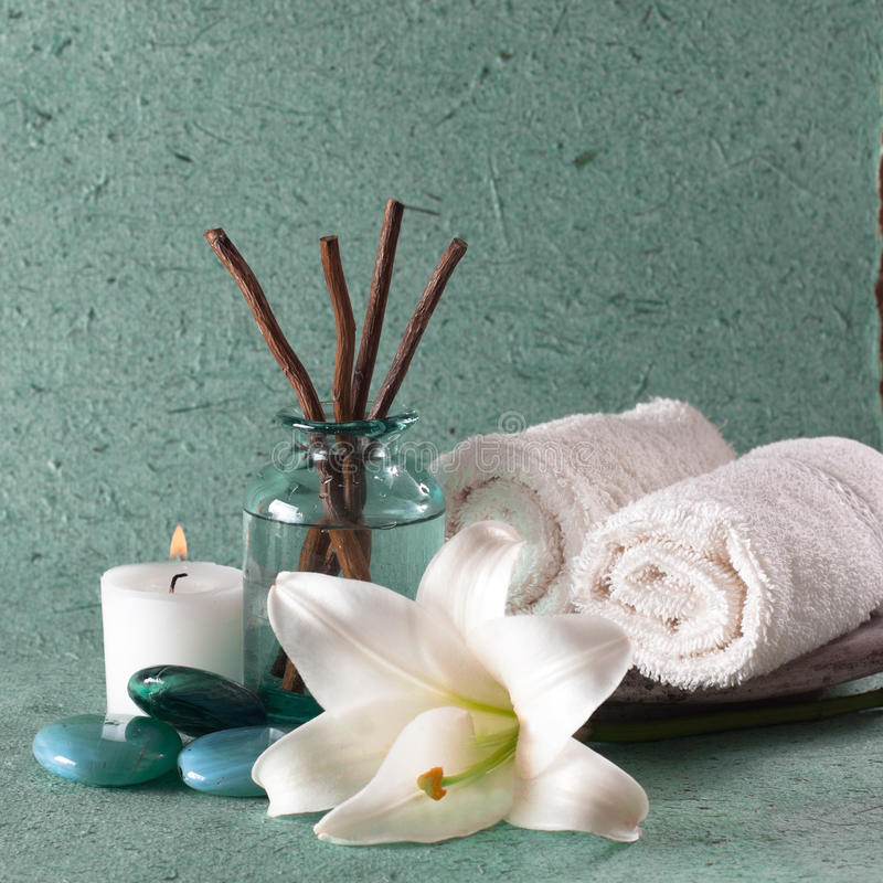 Spa elements. On blue - green background stock image