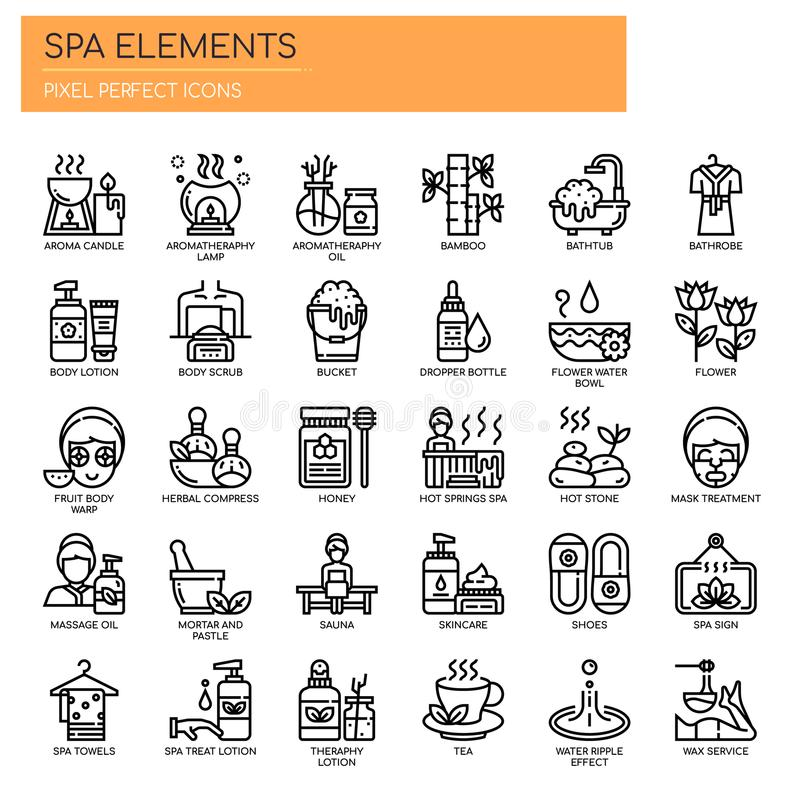 Spa Elements , Pixel Perfect Icons. Spa Elements , Thin Line and Pixel Perfect Icons vector illustration