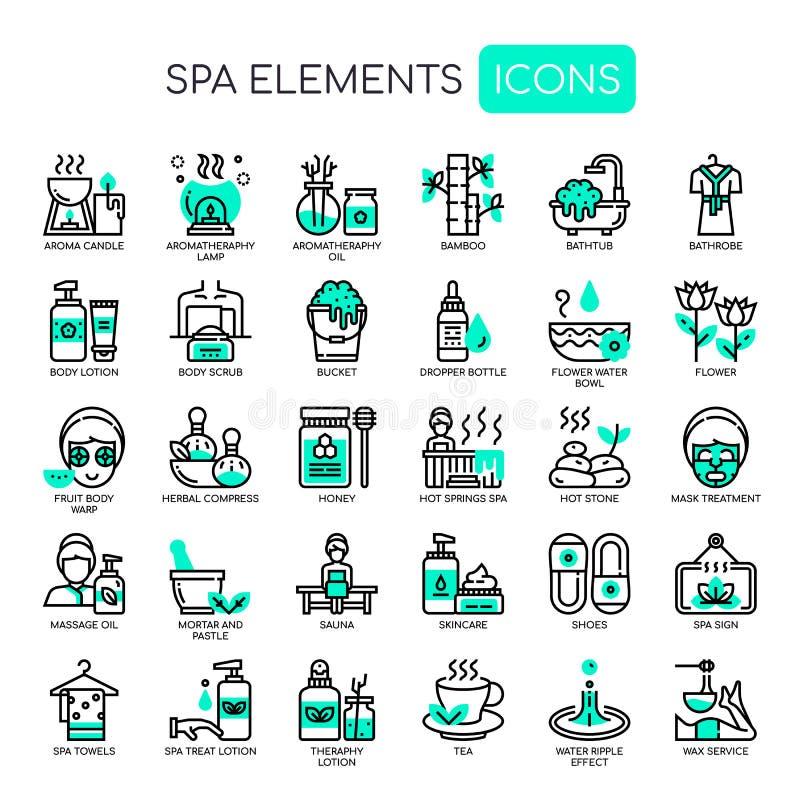 Spa Elements , Pixel Perfect Icons. Spa Elements , Thin Line and Pixel Perfect Icons stock illustration
