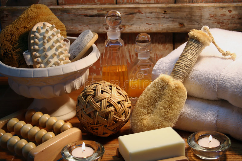 Spa essentials. Essentials products for spa therapy royalty free stock photos