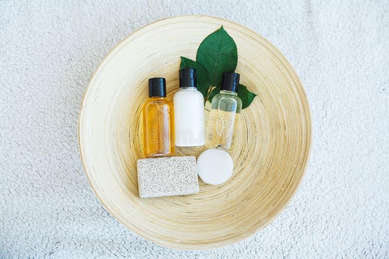 Spa essentials including natural oils, salt, soap. Organic cosmetics concept.  stock photography