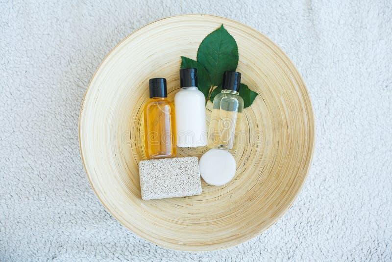 Spa essentials including natural oils, salt, soap. Organic cosmetics concept.  stock photo