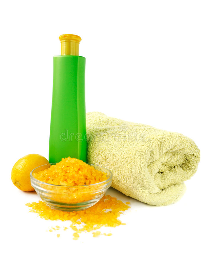 Spa Essentials In Yellow And Green Color Royalty Free Stock Images