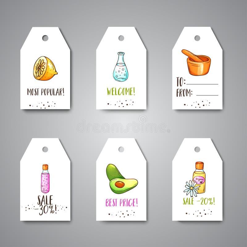 Spa etiketter och försäljningsetiketter räcker utdragna skönhetsmedel och aromatherapybeståndsdelar Tecknade filmen skissar av de stock illustrationer