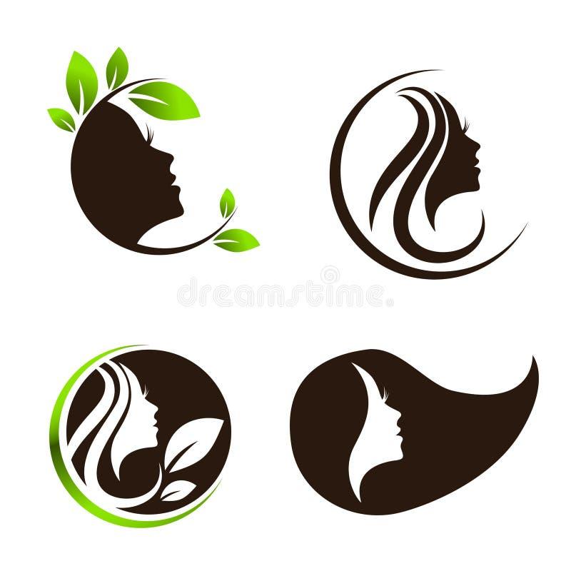 Spa för kvinnaskönhethår salong Logo Design Set royaltyfri illustrationer
