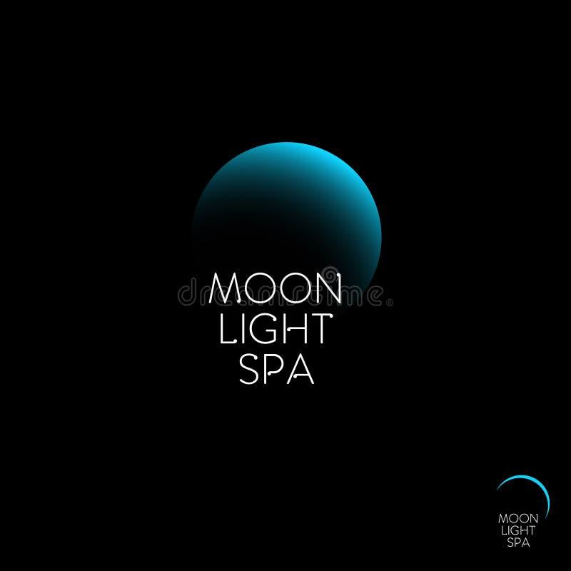 Spa för måneljus logo Blå måne och bokstäverna på en mörk bakgrund vektor illustrationer
