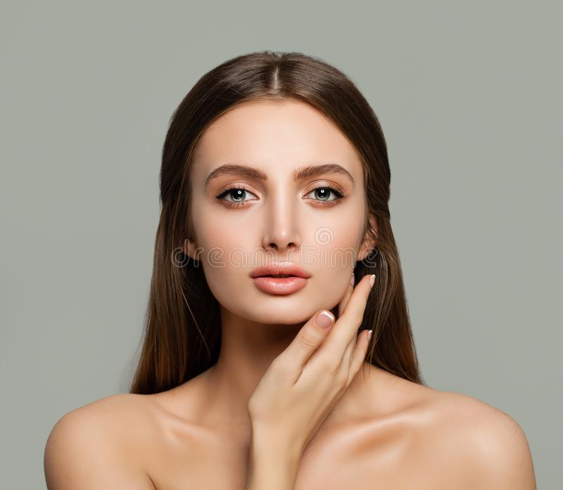 Spa Face. Healthy Woman with Clear Skin royalty free stock image