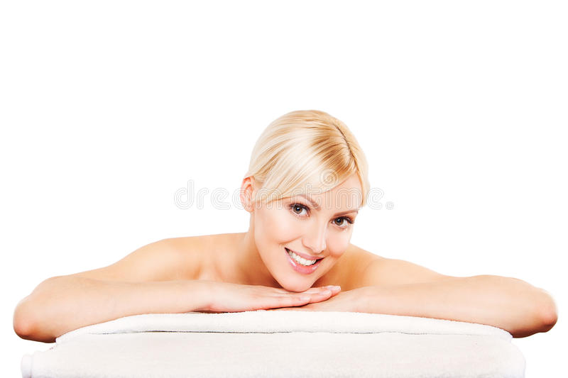 Spa. Face skincare beauty woman smiling happy royalty free stock image