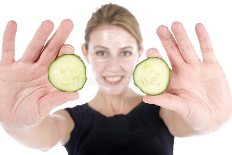 Spa Facial With Cucumber Royalty Free Stock Photos