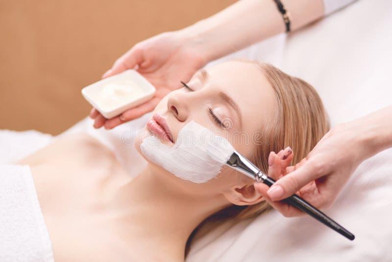 Spa facial mask application. Spa beauty organic facial mask application at day spa salon. Spa facial mask application. Spa beauty organic facial mask royalty free stock images
