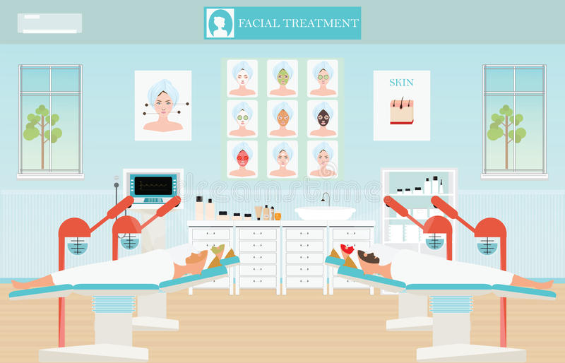 Spa facial massage treatment with ozone facial steamer on bed in. Spa center,interior, women facing the steam, beauty conceptual vector illustration royalty free illustration