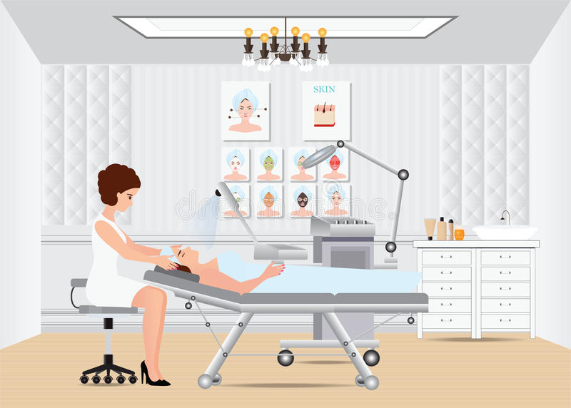 Spa facial massage treatment with ozone facial steamer on bed. Spa facial massage treatment with ozone facial steamer on bed in spa center,interior, women vector illustration
