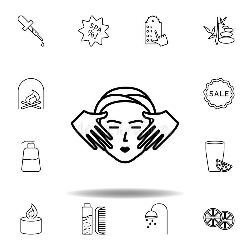 Spa facial treatment with massage outline icon. Detailed set of spa and relax illustrations icon. Can be used for web, logo,. Mobile app, UI, UX on white stock illustration