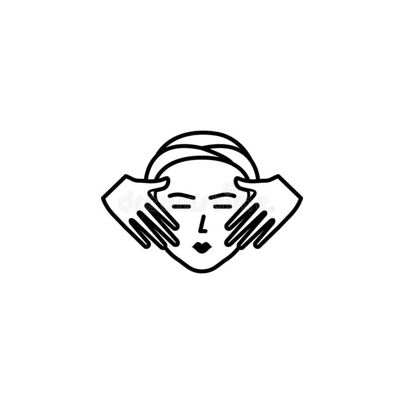 Spa facial treatment with massage outline icon. Signs and symbols can be used for web, logo, mobile app, UI, UX. On white background stock illustration