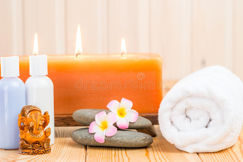 Spa facilities and a statuette of the Ganesha. Spa facilities and a statuette of the god Ganesha royalty free stock photography