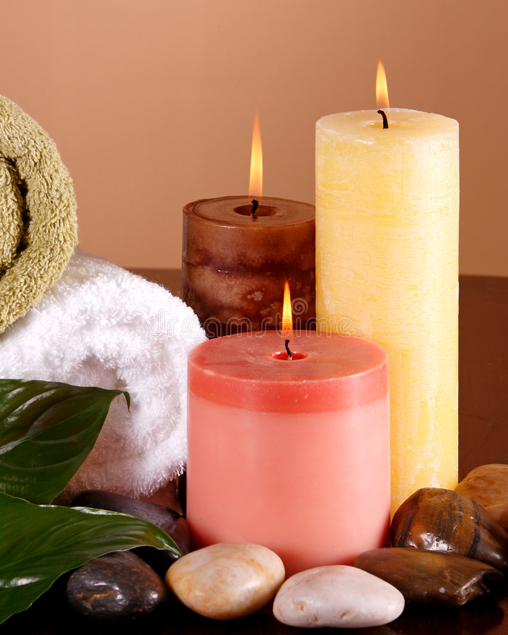 Download Spa feeling stock photo. Image of leaf, relax, flame, candle - 4168170