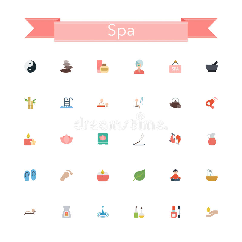 Download Spa Flat Icons stock vector. Illustration of hand, bamboo - 60753134
