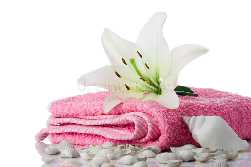 Spa flower towel sea shell. On white stock photography