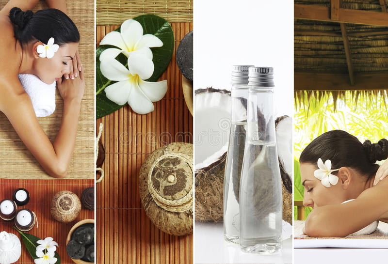 Spa four. Spa theme photo collage composed of different images royalty free stock photos