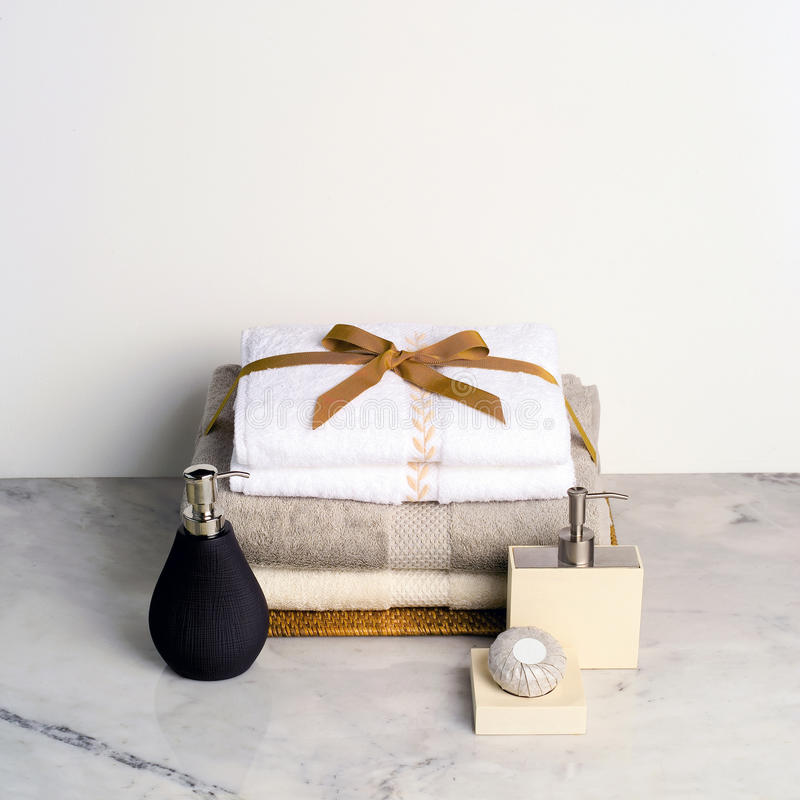 Spa gift set. On marble table stock images