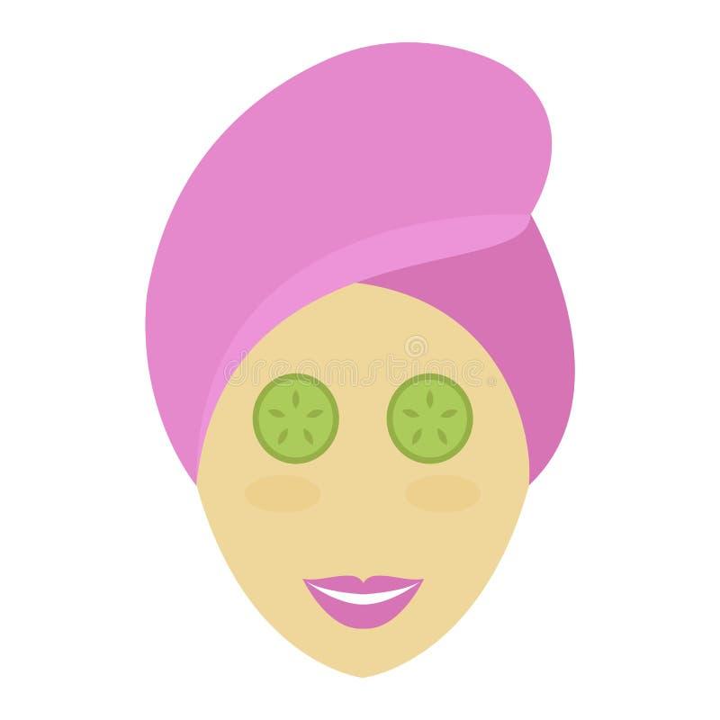 Spa girl face mask vector. stock illustration