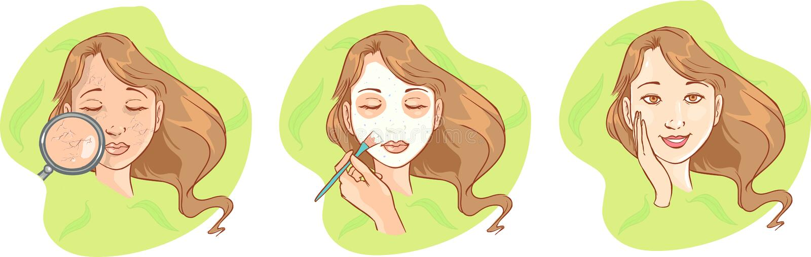 Spa girl with regeneration facial mask. Young girl with facial mask stock illustration