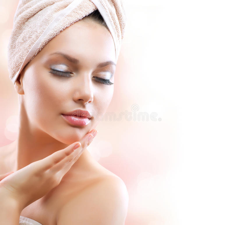 Download Spa Girl. Skincare stock image. Image of hand, girl, looking - 25882417