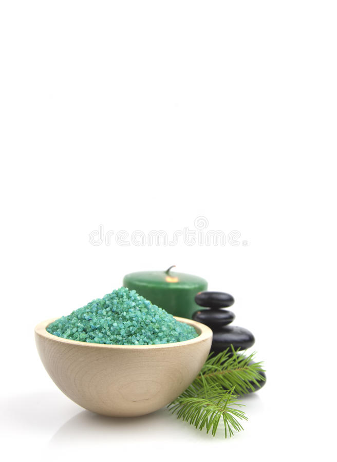 Spa green salt stock photo