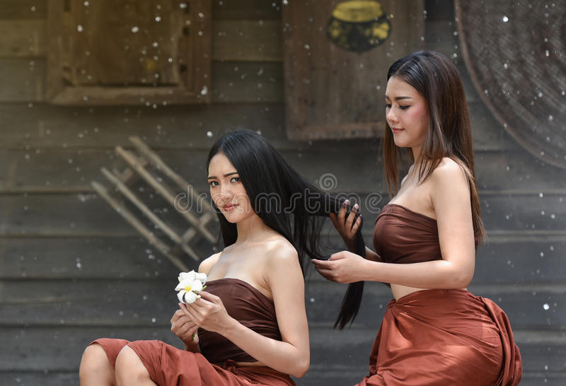 Spa hair - hair beautiful Asia woman stock photos