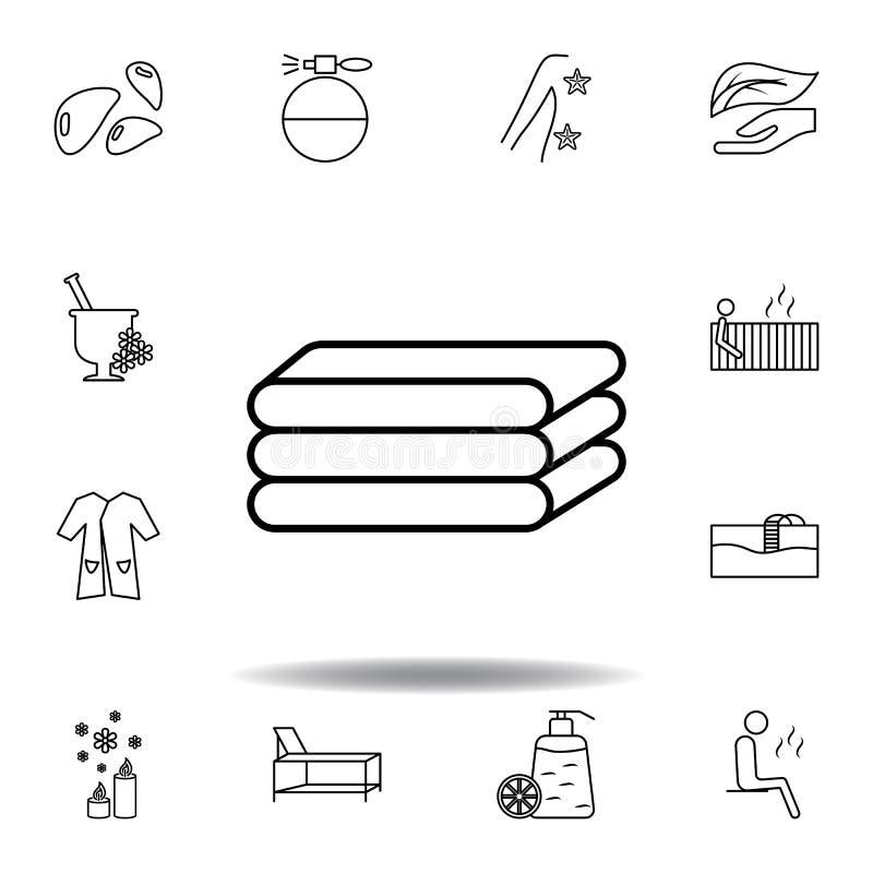 Spa handdukar, avkoppling?versiktssymbol Detaljerad uppsättning av brunnsorten och att koppla av illustrationsymbolen Kan anv?nda stock illustrationer