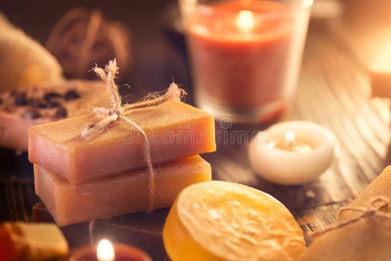 Spa. Handmade organic soap closeup stock photo